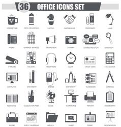 Office black icon set dark grey classic vector