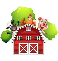 A barn with animals at the rooftop vector