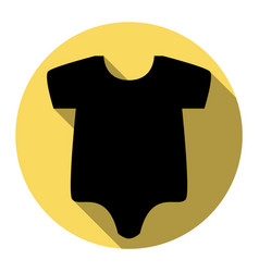 Baby cloth flat black icon vector