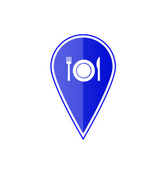 Blue map pointer with restaurant icon vector
