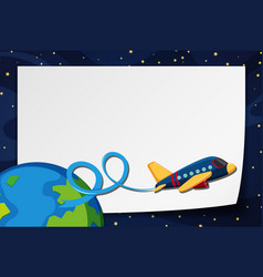 Border template with airplane flying in space vector