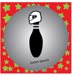 Bowling pin icon with motorcycle vector