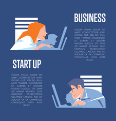 Business start up banner with businesspeople vector