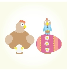 Cartoon easter chicken and bunny isolated vector image