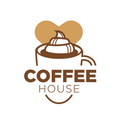 Coffee house logotype with big cup of delicious vector
