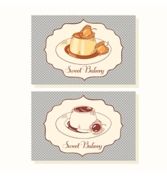 Creme caramel dessert business cards in vector image