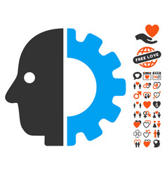 Cyborg head icon with dating bonus vector