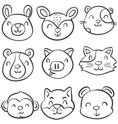 Doodle of animal cute funny style vector