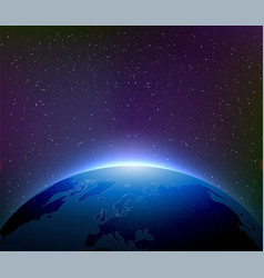 earth at night among starry sky vector image