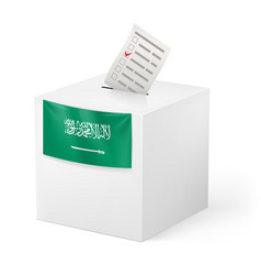 Election in saudi arabia ballot box with voicing vector