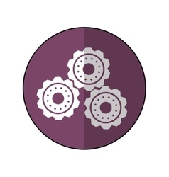 Gear wheel engine cog icon purple shadow vector