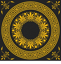 Golden square and round greek ornament meander vector