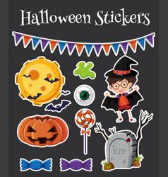 Halloween stickers set with jack-o-lantern vector