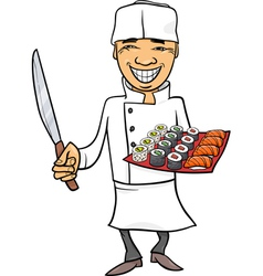 japan sushi chef cartoon vector image vector image