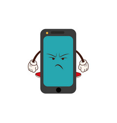 Kawaii smartphone angry character cartoon vector
