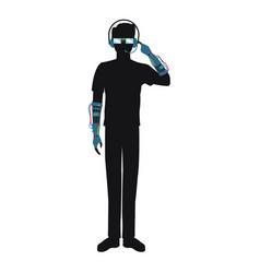Man using glasses headset vr technology silhouette vector