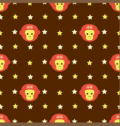 New year 2016 seamless pattern with monkey head vector