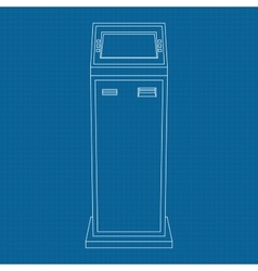 Payment kiosk outline icon on blueprint vector