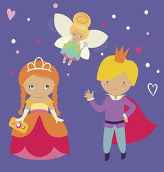 Princess prince and fairy vector