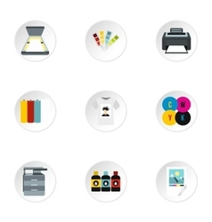 Printing services icons set flat style vector