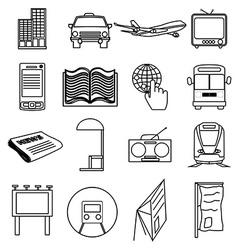 Public transport line icons set vector image