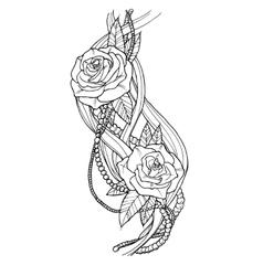 Rose tattoo vector