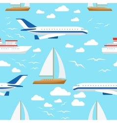 Seamless pattern with transport and clouds vector image vector image