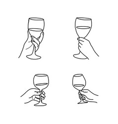 set hand holding wine glass doodle vector image vector image