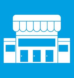 Supermarket building icon white vector