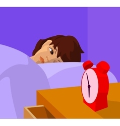 teenager waking up cartoon vector image vector image