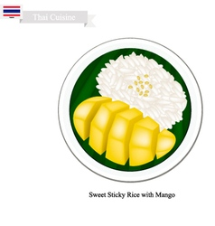 Thai Dessert Ripe Mango with Sticky Rice vector image vector image