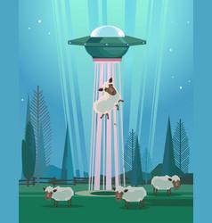 ufo stealing sheep character vector image vector image
