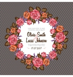 Vintage wedding invitation card frame with roses vector image