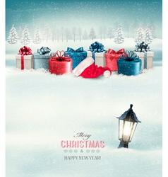Winter Christmas background with presents and a vector image