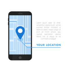 Your location pointer in online smartphone map vector