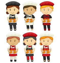 Male and female bakers with baked bread vector
