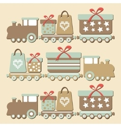 Cute vintage christmas steam train with gifts vector