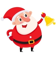 Cute and funny santa claus ringing golden vector