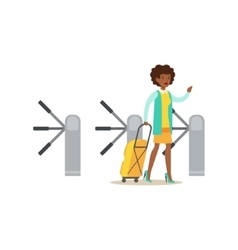 Woman Passing Turnstile With Suitcase Part Of vector image