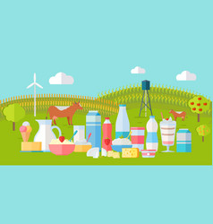 Milk production banner traditional dairy products vector