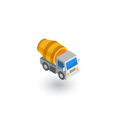 Concrete mixing truck isometric flat icon 3d vector