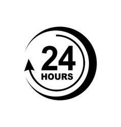 24 hours support icon simple style vector