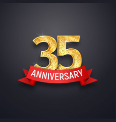 35th anniversary logo template thirty-five years vector image vector image