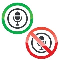Microphone permission signs vector