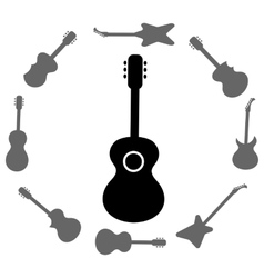 Set of guitars silhouettes vector