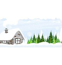 Snow covered hut vector