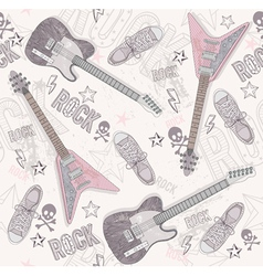 Cute grunge abstract seamless guitar pattern vector