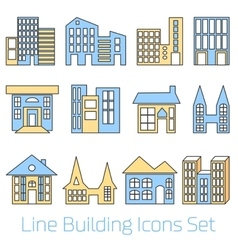 Colored line building icons set vector
