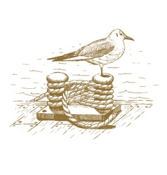 Seagull sitting on a bollard drawn by hand vector