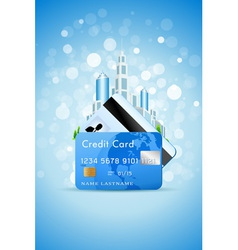 city and credit card vector image